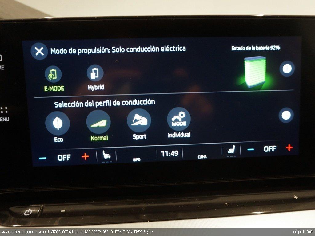 Skoda Octavia 1.4 TSI 200CV DSG (AUTOMÁTICO) PHEV Style Hibrido kilometro 0 de segunda mano 13